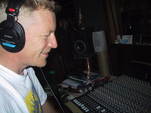 At the mixing board in Greenote Studios