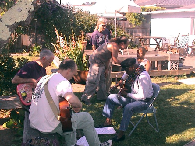 Rehearsing in the back yard
